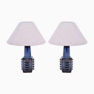 Small Blue Danish Table Lamps from Soholm, 1960s, Set of 2