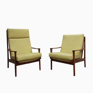 Mid-Century Australian Teak & Linen Lounge Chairs, 1960s, Set of 2