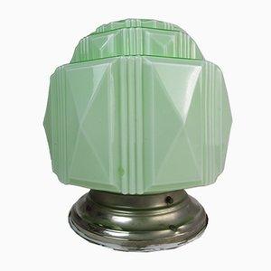 Lampada da soffitto antica in vetro opalino color mela