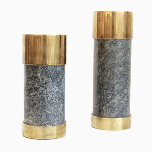 Stone and Brass Candleholders from Saulo AS, 1970s, Set of 2