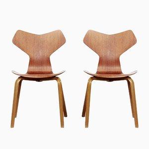 Sedie 3130 Grand Prix di Arne Jacobsen per Fritz Hansen, anni '60, set di 2