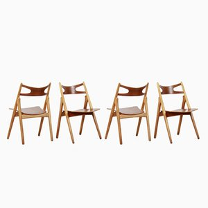 Model CH29 Sawbuck Dining Chairs by Hans Wegner for Carl Hansen, 1950s, Set of 4