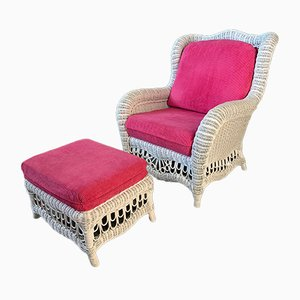 White Wicker Wingback Chair and Ottoman, 1960s