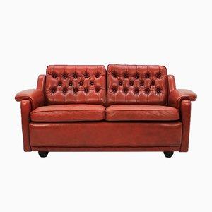 Rotes dänisches 2-Sitzer Ledersofa, 1960er