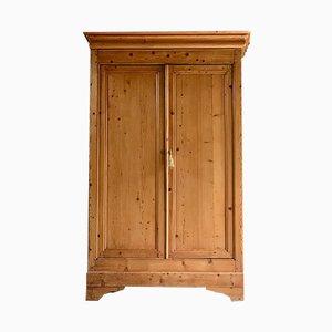 Antiker französischer Haushaltsschrank aus Pinienholz mit 2 Türen