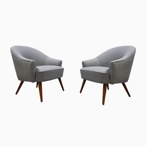 Mid-Century Light Grey Tweed Cocktail Chairs, 1950s, Set of 2