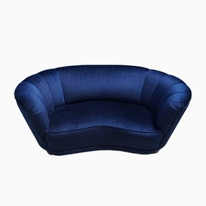 Mid-Century Danish Navy Blue Velvet Loveseat, 1960s