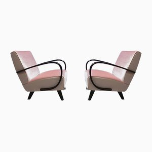 Pink Velvet & Bentwood Armchairs by Jindřich Halabala for Thonet, 1930s, Set of 2