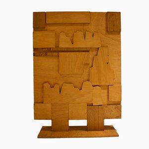 Biombo Folk Art de madera, años 60