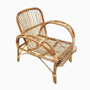 Rattan Wicker Bamboo Armchair, 1950s