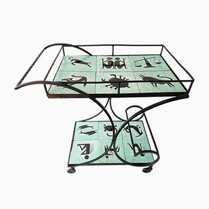 Serving Trolley with Zodiac Decor, 1950s