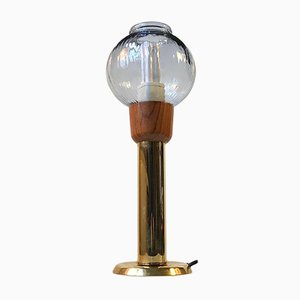 Vintage Danish Brass & Glass Table Lamp from Bang Knudsen, 1970s