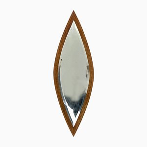 Oval Italian Walnut Mirror, 1950s