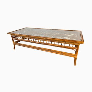 Chinoiserie Tiger Bamboo Coffee Table, 1980s