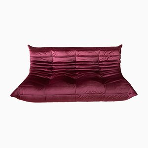 Togo 3-Seater Burgundy Velvet Sofa by Michel Ducaroy for Ligne Roset, 1970s