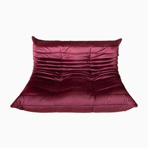 Togo Two-Seater Burgundy Velvet Sofa by Michel Ducaroy for Ligne Roset, 1970s