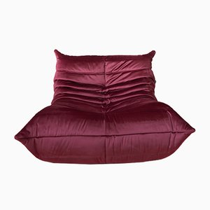 Togo Burgundy Velvet Lounge Chair by Michel Ducaroy for Ligne Roset, 1970s