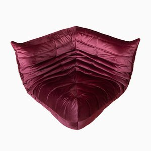 Togo Burgundy Velvet Corner Sofa by Michel Ducaroy for Ligne Roset, 1970s