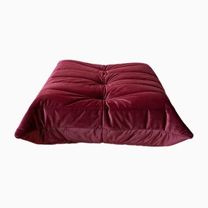 Togo Burgundy Velvet Pouf by Michel Ducaroy for Ligne Roset, 1970s