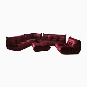 Togo Living Room Set in Burgundy Velvet by Michel Ducaroy for Ligne Roset, 1979
