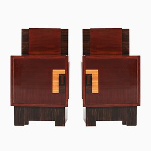 Art Deco Haagse School Mahogany Nightstands by 't Woonhuys, 1920s, Set of 2