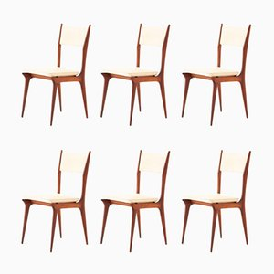 Italian Beige Skai & Mahogany Dining Chairs, 1950s, Set of 6