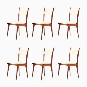 Italienische Esszimmerstühle mit Gestell aus Mahagoni & beigefarbenem Bezug aus Skai, 1950er, 6er Set