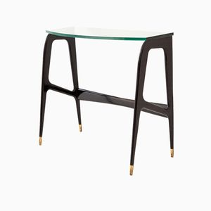 Italian Black Wood & Glass Console Table, 1950s