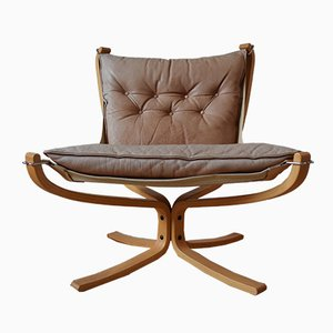 Mid-Century Light Cognac Falcon Chair by Sigurd Ressel for Vatne Møbler, 1970s