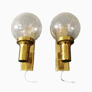 Large Italian Brass Sconces, 1960s, Set of 2