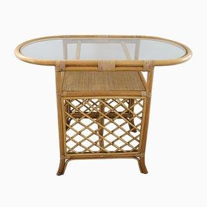 Table Basse en Osier et Bambou, 1980s