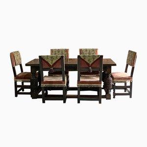 Antiker Kantinenesstisch aus massiver Eiche mit 6 Stühlen