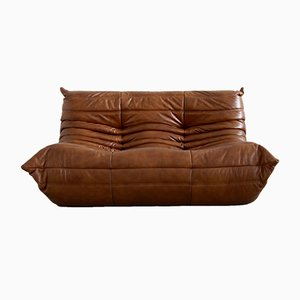 Vintage Cognac Leather Togo Living Room Set by Michel Ducaroy for Ligne Roset, 1970s