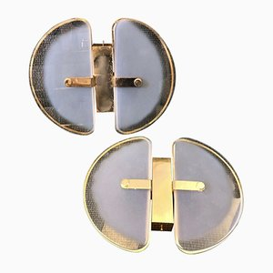 Mid-Century Italian Modern Brass and Glass Wall Sconces, Set of 2