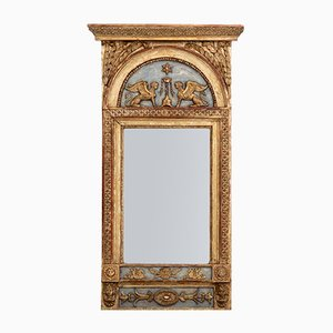 Grand Miroir Antique en Bois Sculpté