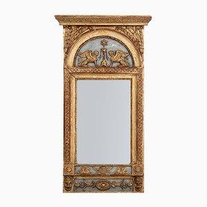 Großer antiker Spiegel mit Rahmen aus geschnitztem Holz