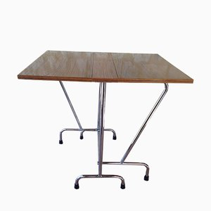 Mid-Century Faux Wood Formica Folding Table with Chrome Legs