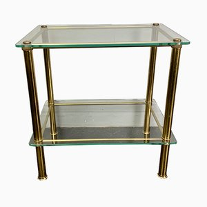 Vintage Italian Glass & Brass Side Table