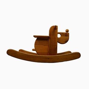 Cavallino a dondolo vintage in legno
