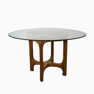 Runder Vintage Tisch mit Gestell aus Rattan mit Intarsien & konischer Glasplatte