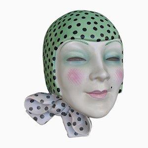 Italienische Art Deco Maske mit Schalknoten von Helen Konig Scavini für Lenci, 1930er