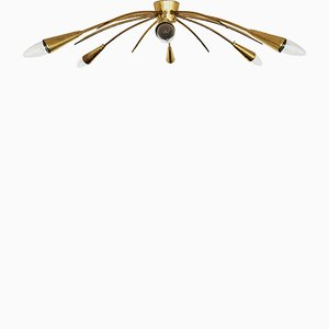 Italian Brass Ceiling Lamp, 1950s