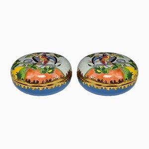 Antique French Jewellery Boxes from Emaux de Longwy, Set of 2