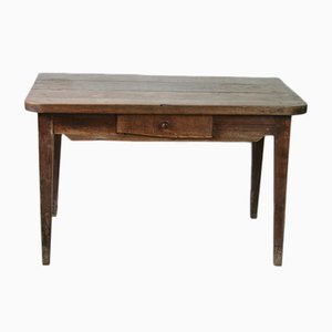 Solid Oak Farm Table Or Desk with Drawer, 1950s