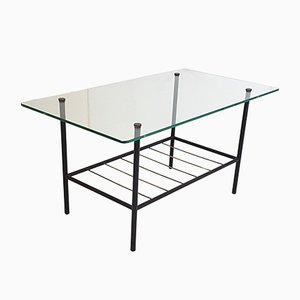 Mid-Century French Steel, Brass & Glass Coffee Table, 1950s