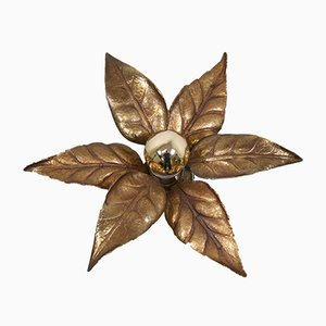 Golden Flower Wall Lamp by Willy Daro for Massive, 1970s