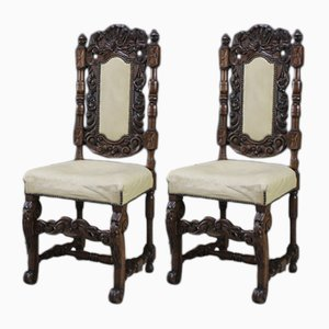 Antique Victorian Carved Side Chairs, Set of 2