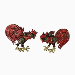 Ceramic Roosters, 1980s, Set of 2