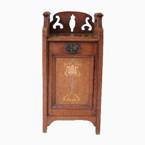 Boîte à Charbon Art Nouveau en Chêne