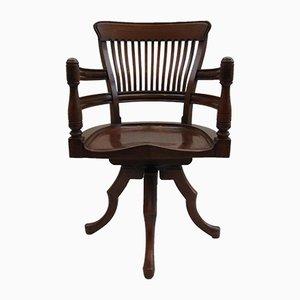 Chaise de Bureau Pivotante Antique du 19ème Siècle en Noyer par E. W. Godwin